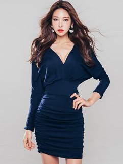 Korean Low V Neck Shirred Wrap Dress