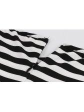 Euro Stripe Retro Style Half Sleeve A Line Dress