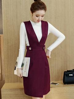Korean Knit Top With Solid V Neck Suspender Dress