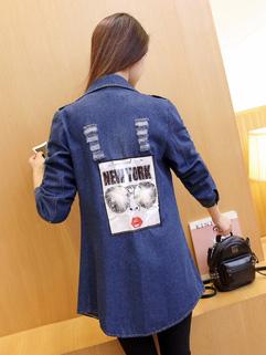 Fall Arrival Print Long Sleeve Woman Denim Trench Coat