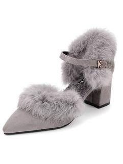 Euro Fashion Pointed Toe Fur Decor Women Flat Shoes