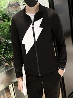 Outlet Color Block Zipper Men Sport Suit