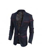 Wholesale Plaid Turndown Collar Men Business Coat