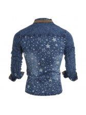 Early Autumn Star Turndown Collar Denim Men Shirt