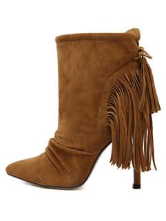 Hot Sale Tassel Stiletto Heel Ankle Boots Shoes