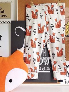 Best Selling Orange Fox Print Children Harem Pants