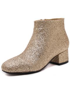Autumn Round Toe Sequin Women Ankle Boots Shoes