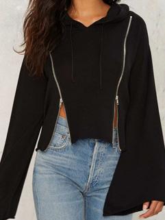 Euro Style Flare Sleeve Zippered Short Hooded Coat