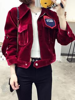 Korean Fashion Applique Women Motorcycle Jackets