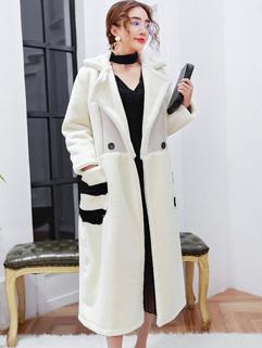 Euro Style Lamb Wool Pocket Cardigan Coat