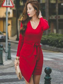 New Korean V Neck Self Tie Office Ladies Dresses