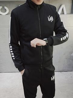 Chic Letter Stand Collar Zipper Men Sport Suit