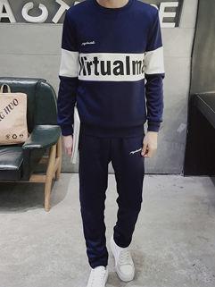 Wholesale Casual Print Letter O Neck Men Sport Suit