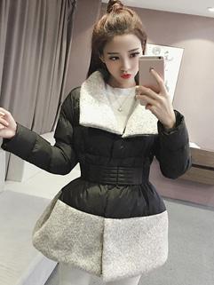 Online Buy Turndown Collar Patchwork Cardigan Short Coat