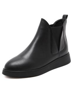 Popular Round Toe Zipper Women Black Boots Shoes