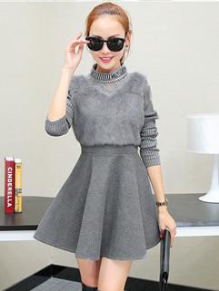 Korean Style Patchwork Long Sleeve Swing Dresses