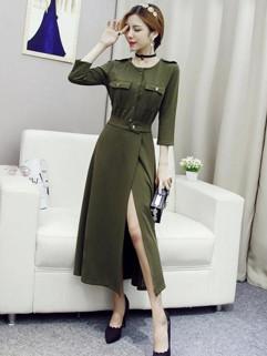 Euro Style Three Quarter Sleeve Split Elegant Dresses