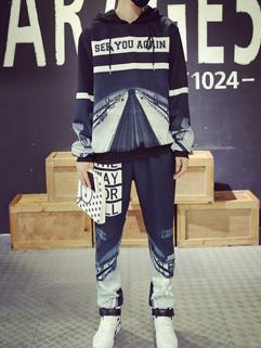 Chic Print Letter Hooded Collar Men Sport Suit