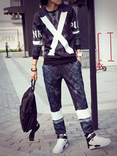 Korean Street Color Block O Neck Men Sport Suit