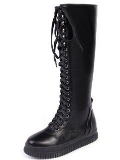 Korean Style Round Toe Thigh High Women Boots