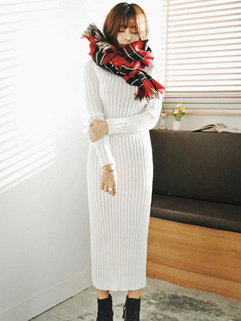 Wholesale Solid High Neck Long Sweater Dresses