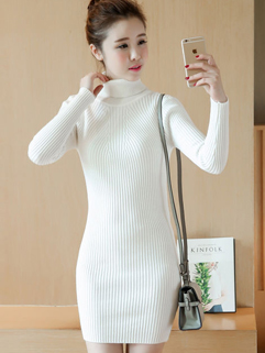 Korean Style High Neck Wrap Sweater Dresses
