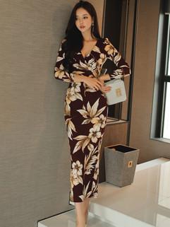 Korean Floral Prints OL Slit Midi Dress