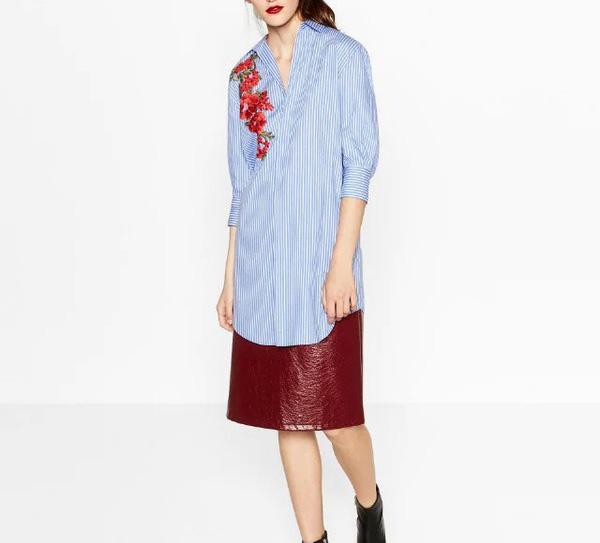 Stylish Flower Embroidery Striped Shirts Design