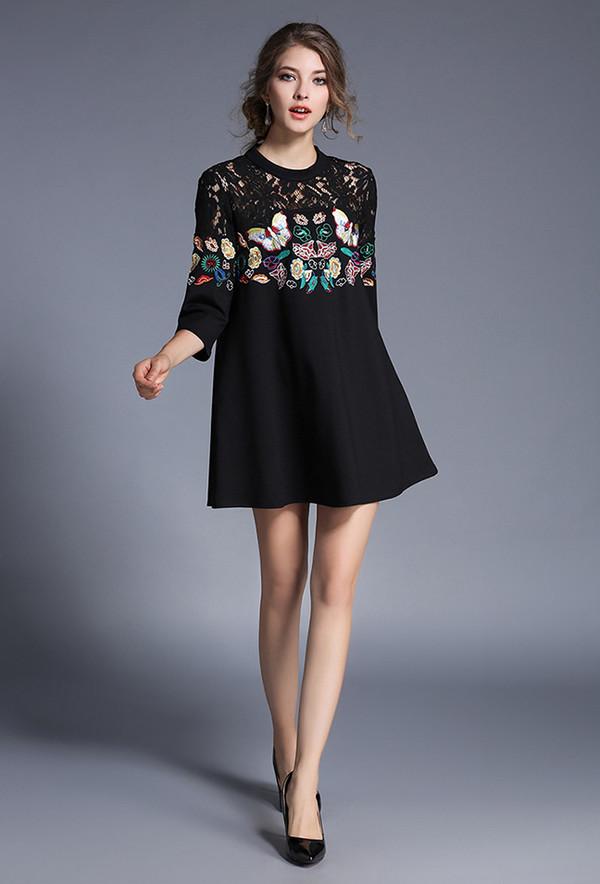High Quality Embroidery 3/4 Sleeve Loose A Line Dress