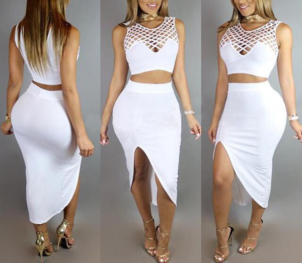 Wholesale Hollow Out Crop Top With Asymmetrical Skirt Slim Fit Suits