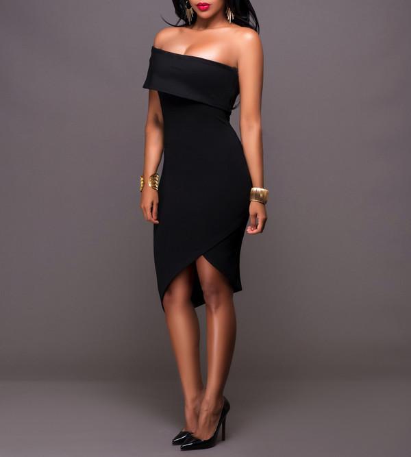 Off Shoulder Asymmetric Hem Cheap Dresses