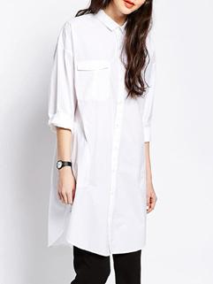 2015 Custom Design Women Long Sleeve Loose Pinted Collar White Blouse Dress