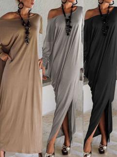 Bohemian Style Women Long Sleeve Split Loose Asymetrical Hem Maxi Dresses