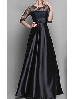 High-end Evening Black Beading Lace Spliced Elegant Women Prom Maxi Dress