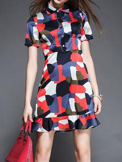 Wholesale Individual Printing Stand Collar Slim Dress