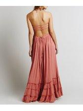 Euro Sexy Backless Halter Ruffle Beach Long Dress