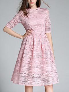 European Lady Embroidery Short Sleeve Dress