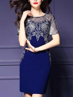 European Vintage Style Embroidery O Neck  Dress