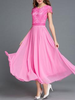 Elegant Lace Patchwork Crew Neck Slim Bohemian Maxi Dress