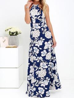 Euro Sexy Backless Floral Printed Bohemian Maxi Dress