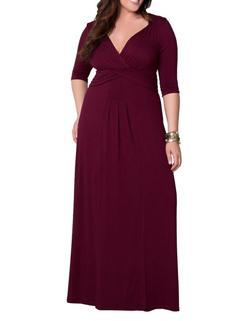 Brief Style V Neck Plus Size Women Long Dress