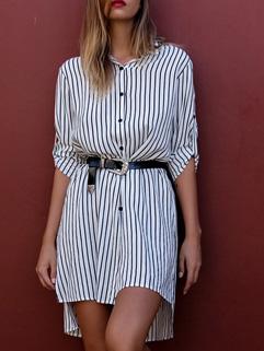 2016 New Design Striped Loose Boyfriend Shirt Dress