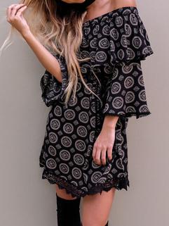 Outlet Boat Neck Print Lace up Black Vintage Dresses