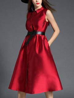 Euro Fashion Turndown Collar Designer Long Dresses