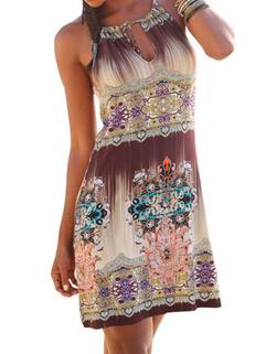 Ethnic Print Off Shoulder Mini Sundress