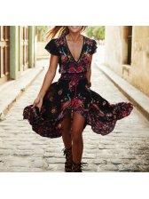 Sexy Slit Floral Prints Vintage Dresses