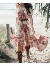 Euro Floral Prints Off Shoulder Maxi Dresses
