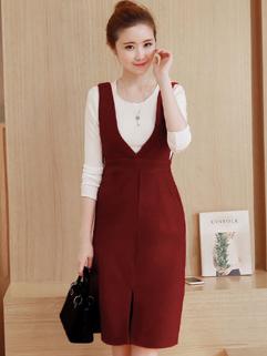 Korean White Top With V Neck Slit Suspender Dress