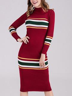 Fashion Stripe Long Sleeve Bodycon Dress