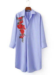 Stylish Flower Embroidery Striped Shirts Design